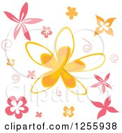 Pink And Orange Flower And Swirl Background