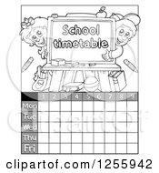 Grayscale School Timetable With Children And A Chalkboard