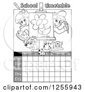 Grayscale School Timetable With Children Art And Animals