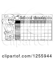 Clipart Of A Grayscale School Timetable With A Girl Royalty Free Vector Illustration by visekart