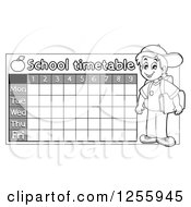 Clipart Of A Grayscale School Timetable With A Boy Royalty Free Vector Illustration by visekart