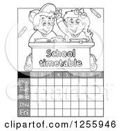 Clipart Of A Grayscale School Timetable With Children At A Desk Royalty Free Vector Illustration by visekart