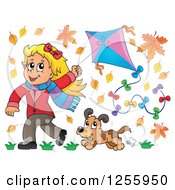 Happy Blond White Girl Running With A Kite And Dog Through Autumn Leaves