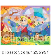 Clipart Of A Happy Blond Caucasian Girl Running With A Kite And Dog Through Autumn Leaves Royalty Free Vector Illustration by visekart