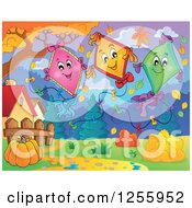 Clipart Of Happy Kites In An Autumn Landscape Royalty Free Vector Illustration by visekart