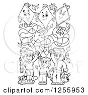 Clipart Of Black And White Happy Children Flying Kites With A Cat And Dog Royalty Free Vector Illustration by visekart