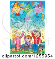 Clipart Of Happy Children Flying Kites With A Cat And Dog Royalty Free Vector Illustration by visekart
