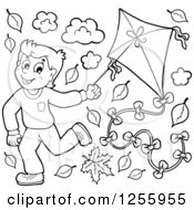 Clipart Of A Happy Black And White Boy Running With A Kite Through Autumn Leaves Royalty Free Vector Illustration by visekart
