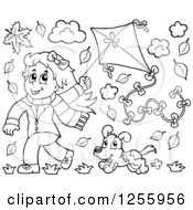 Clipart Of A Happy Black And White Girl Running With A Kite And Dog Through Autumn Leaves Royalty Free Vector Illustration by visekart