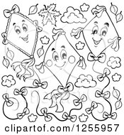 Clipart Of A Black And White Happy Kites And Clouds With Leaves Royalty Free Vector Illustration by visekart