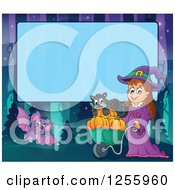 Clipart Of A Halloween Background Of A Witch Cat And Bat Over Blue Text Space Royalty Free Vector Illustration
