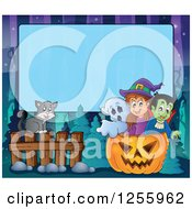 Clipart Of A Halloween Background Of A Witch Cat Ghost And Vampire Over Blue Text Space Royalty Free Vector Illustration