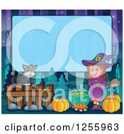 Clipart Of A Halloween Background Of A Witch Cat And Cauldron Over Blue Text Space Royalty Free Vector Illustration by visekart