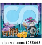 Clipart Of A Halloween Background Of A Witch Cat And Flying Bat Over Blue Text Space Royalty Free Vector Illustration