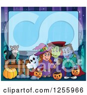 Clipart Of A Halloween Background Of A Witch Cat And Bat Ghost Vampire And Frankenstein Over Blue Text Space Royalty Free Vector Illustration
