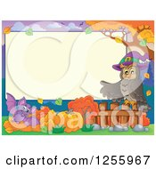 Clipart Of A Halloween Sign With A Witch Owl And Vampire Bat Royalty Free Vector Illustration