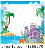 Clipart Of A Captain Octopus With A Telescope And Anchor On A Beach Border Royalty Free Vector Illustration