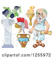 Clipart Of A Greek Man And Items Royalty Free Vector Illustration by visekart