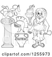 Clipart Of A Black And White Greek Man And Items Royalty Free Vector Illustration