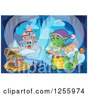 Clipart Of A Dragon And Treasure Chest In A Winter Cave Near A Castle Royalty Free Vector Illustration