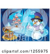 Clipart Of A Snowman And Treasure Chest In A Winter Cave Near A Castle Royalty Free Vector Illustration