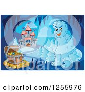 Clipart Of A Yeti And Treasure Chest In A Winter Cave Near A Castle Royalty Free Vector Illustration by visekart