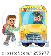 Clipart Of A Happy Brunette White Boy Loading A School Bus Royalty Free Vector Illustration