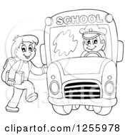 Clipart Of A Black And White Happy Boy Loading A School Bus Royalty Free Vector Illustration