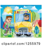 Clipart Of A Happy Brunette White Boy Boarding A School Bus Royalty Free Vector Illustration