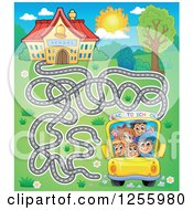Clipart Of A School Bus Maze And Building Royalty Free Vector Illustration