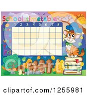 Clipart Of A School Timetable With A Professor Cat Royalty Free Vector Illustration by visekart