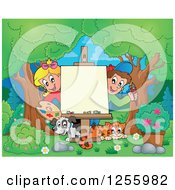 Clipart Of White School Children With A Dog And Cat Around An Art Easel In The Woods Royalty Free Vector Illustration by visekart