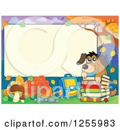 Clipart Of A Dog With School Books And A Bag Under An Autumn Sign Royalty Free Vector Illustration