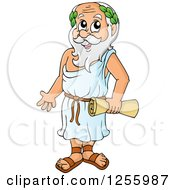 Clipart Of A Greek Man Holding A Scroll Royalty Free Vector Illustration by visekart