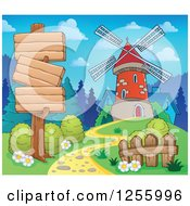 Clipart Of A Windmill And Wooden Sign Boards Royalty Free Vector Illustration by visekart