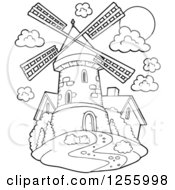 Clipart Of A Black And White Windmill And House Royalty Free Vector Illustration by visekart