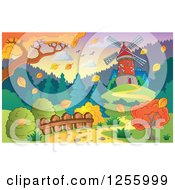 Clipart Of A Windmill In An Autumn Landscape Royalty Free Vector Illustration by visekart