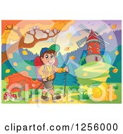 Clipart Of A Happy Caucasian Man Hiking Near A Windmill In The Fall Royalty Free Vector Illustration by visekart