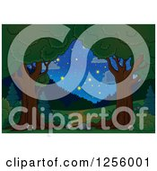Clipart Of A Trees Framing A Path And Night Sky Royalty Free Vector Illustration by visekart