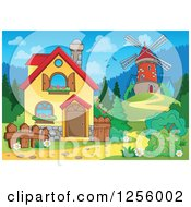 Clipart Of A Windmill And House Royalty Free Vector Illustration by visekart