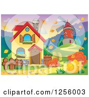 Clipart Of A Windmill And House In An Autumn Landscape Royalty Free Vector Illustration by visekart