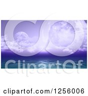 Clipart Of A 3d Fictional Ocean With Purple Sky And Planets Royalty Free Illustration