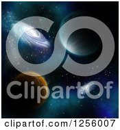 Clipart Of A 3d Backgorund Of Fictional Planets And Galaxies Royalty Free Illustration