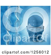 Clipart Of A 3d Virtual Mans Face And Vertical DNA Strands Over Blue Royalty Free Illustration by KJ Pargeter
