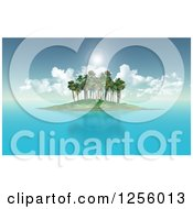 Clipart Of A 3d Tropical Island With Calm Seas And Sun Flares Royalty Free Illustration