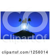Clipart Of A 3d Tropical Island With Calm Seas At Night Royalty Free Illustration