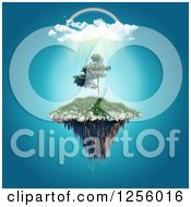 Clipart Of A 3d Rainbow Over A Floating Island Royalty Free Illustration