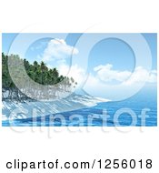 Clipart Of A 3d Tropical Island Beach With White Sand And Palm Trees Royalty Free Illustration
