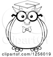 Clipart Of A Black And White Wise Professor Owl Royalty Free Vector Illustration by Hit Toon