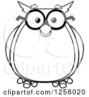 Clipart Of A Black And White Wise Professor Owl In Glasses Royalty Free Vector Illustration